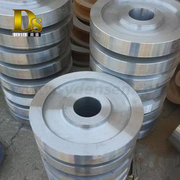 Densen customized Alloy steel Super large hot Forging rope pulley,20 ton wire rope steel pulley